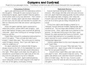 compare and contrast activities poems reading passages