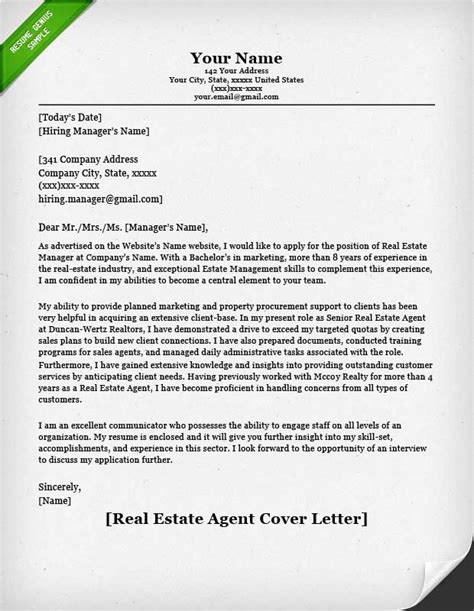 cover letter for real estate application real estate cover letter resume genius
