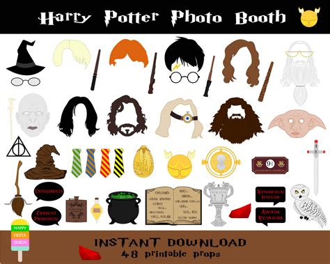Printable Harry Potter Photo Booth Props   harry potter photo booth props 48 pieces printable harry