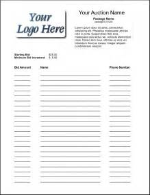 Free Bid Sheet Template by Bid Sheets