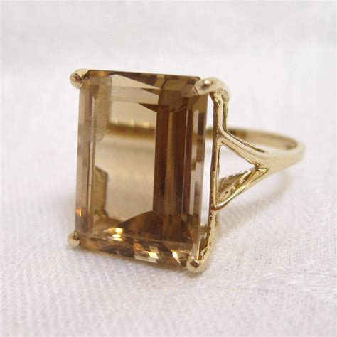 10k gold emerald cut citrine cocktail ring from