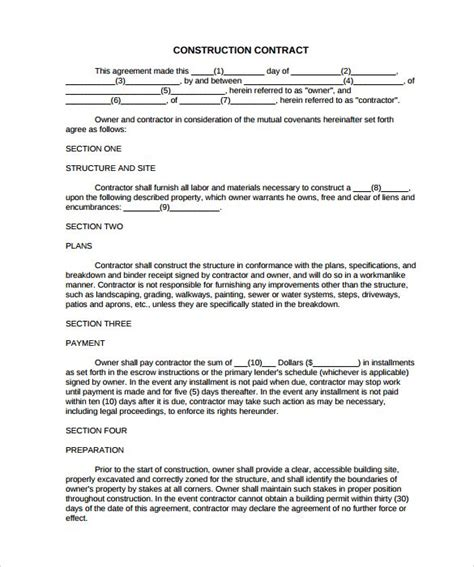 Simple Construction Contract 8 Construction Contract Template Considering Basic Elements And Construction Service Agreement Template