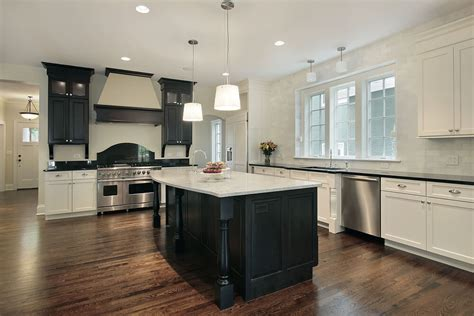 what color to paint kitchen cabinets with black appliances large kitchen with black island and mix of black and white