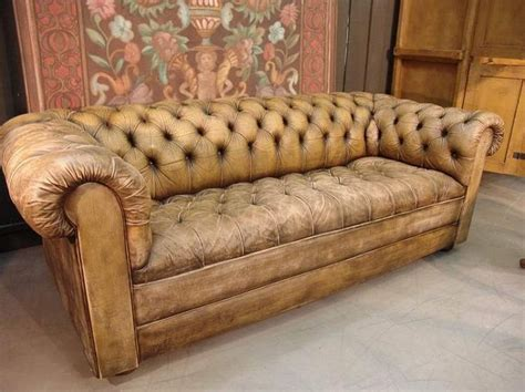 chesterfield couch worn leather sofa sofas pinterest vintage