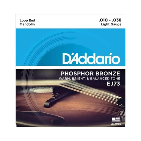 D Addario Ej73 Mandolin Phosphor Bronze Wound Loop End D Addario Light Strings