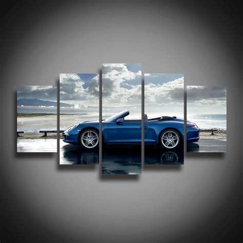 printable car wall art high quality framed printed blue sports car posters modern