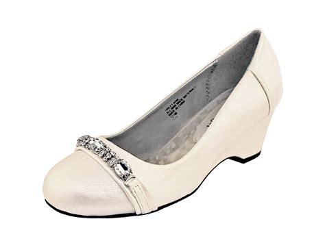 ivory wedge shoe with rhinestones