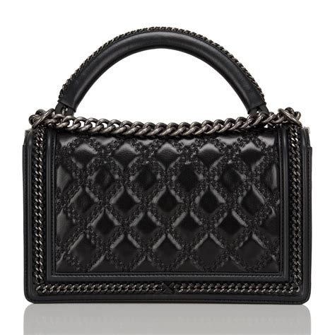 Chanel Boy Top Handle Fr1503 chanel black quilted shiny goatskin new medium boy bag with top handle at 1stdibs