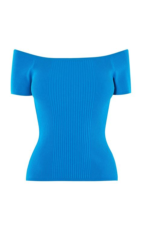 Top Blue lyst millen the shoulder ribbed top in blue