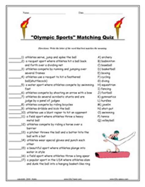printable exercise quiz olympics games esl vocabulary worksheets printables