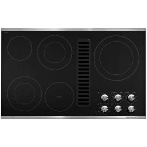 Cooktop With Downdraft Vent kitchenaid 36 in downdraft vent ceramic glass electric cooktop in stainless steel with 5