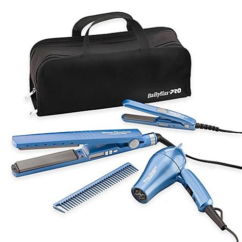 Babyliss Hair Dryer Bed Bath And Beyond babyliss 174 pro nano 1 1 4 quot titanium flat iron with bonus travel pack bed bath beyond