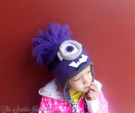 purple minion hat fleece purple minion crochet hat despicable me beanie made to