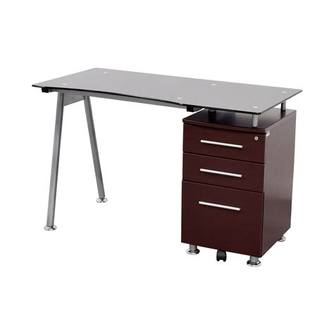 57 glasstop computer desk with drawers tables