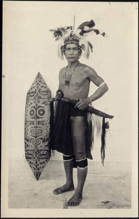 tattoo orang dayak malaysia borneo sarawak dayak armed warrior 1930s rp
