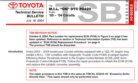 Toyota Code P0420 2003 Cadillac P0420