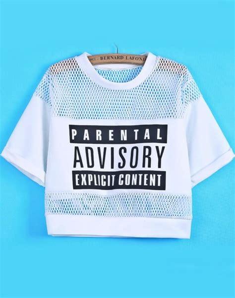 Blouse Crop Advisory t shirt crop tops white black monochrome mesh logo parental advisory content