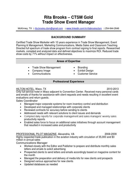 Trade Show Project Manager Sle Resume by Professional Trade Show Project Manager Templates To Description Chief Sales Officer Images