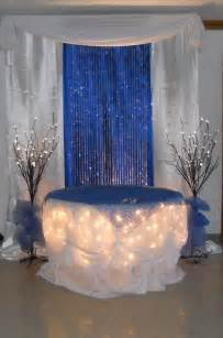 royal blue and ivory wedding decorations royal blue cake table by www decorativeessentials net