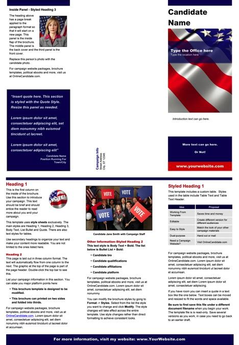 rack card templates avery political print templates white and blue theme word