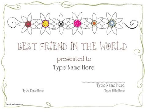 Friendship Card Template Free Printable by Relationships Certificates Friendship Award