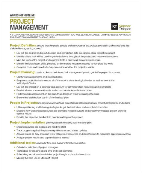 Project Management Course Outline For Mba by 29 Outline Templates In Pdf Free Premium Templates