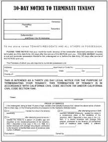 Landlord Eviction Notice Tennessee California 30 Day Notice To Terminate Tenancy Evictme