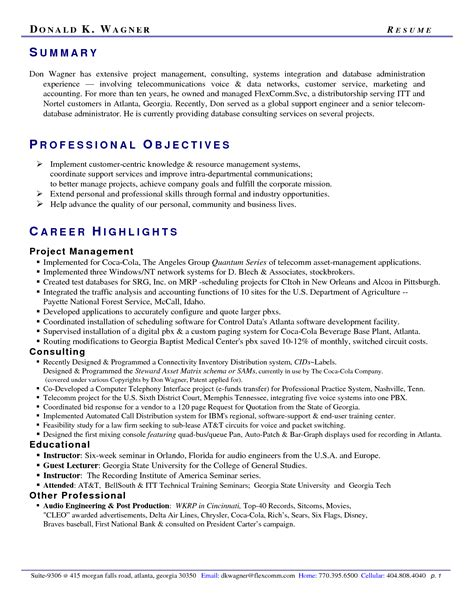 Overview Examples For A Resume by Resume Example 47 Professional Summary Examples