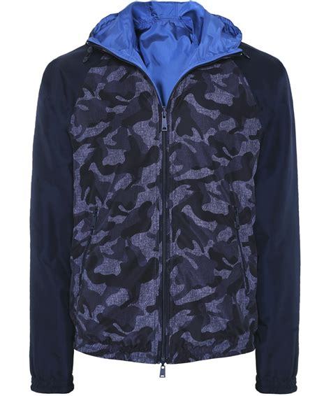 Hooded Camo Bomber Jacket armani blue reversible hooded camo jacket jules b