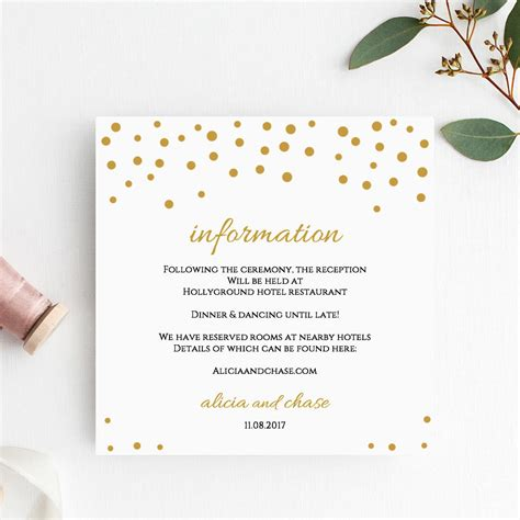 detaild wedding card template wedding information template confetti printable