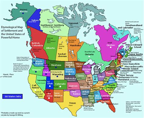 etymological map  north america  canada maps