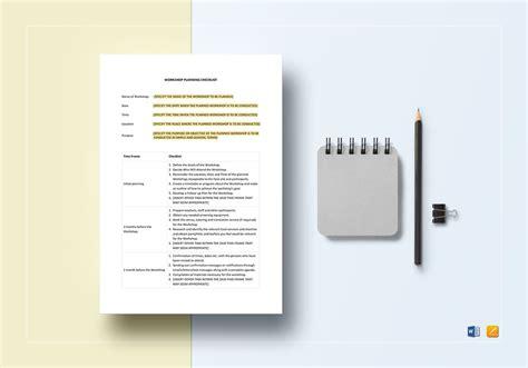 workshop planning checklist template workshop planning checklist template in word apple pages