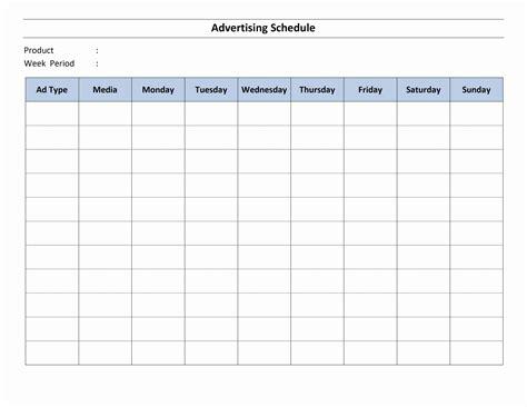 radio schedule template advertising schedule