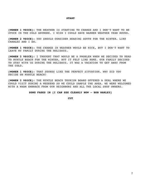 radio announcement template myrtle radio script copy