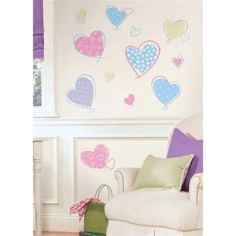 pink purple blue hearts wall decals girls bedroom heart stickers decor ebay