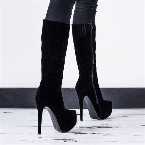knee high black heel boots buy janelle stiletto heel concealed platform knee high