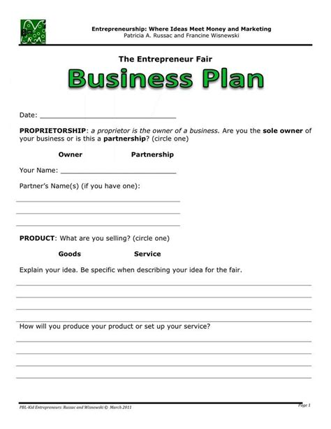 simple business plan template simple business plan simple business