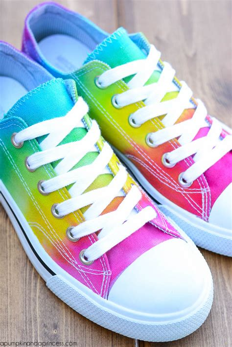 tie dye shoes diy picture of cheerful diy rainbow tie dye shoes 5