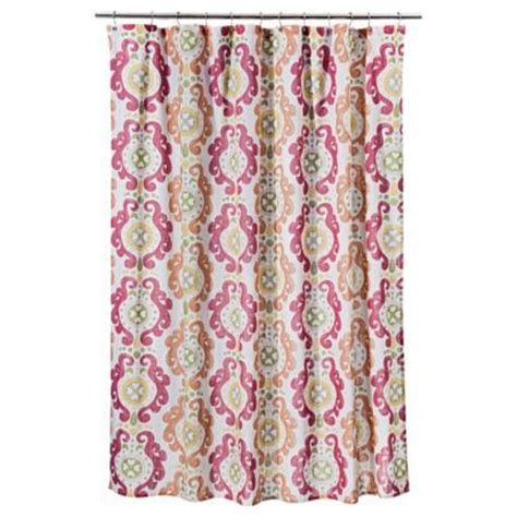 orange shower curtain target threshold scroll shower curtain pink with green towels