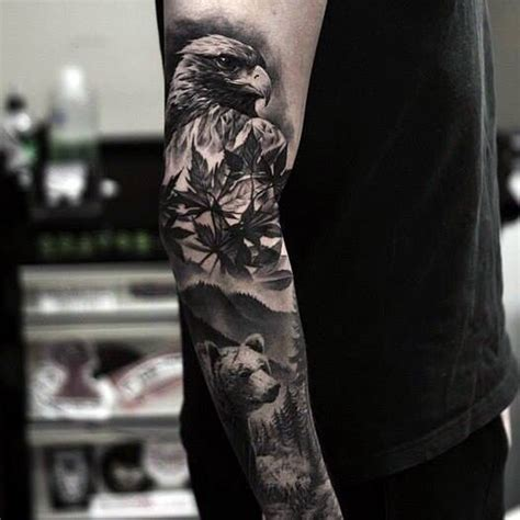 i love this black and grey sleeve eagle bear tattoo