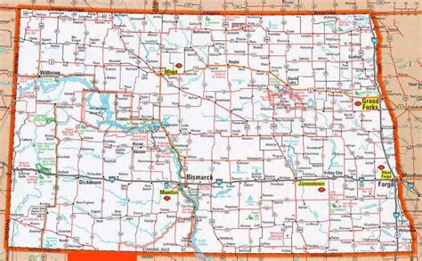 dakota road map with cities map of nd map travel holidaymapq
