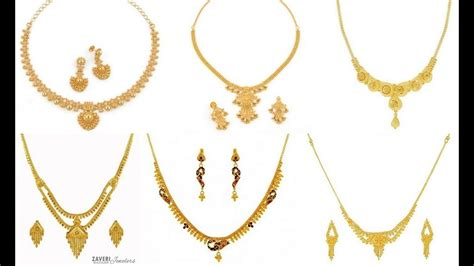 old pattern gold necklace simple lightweight dailywear gold necklace set designs