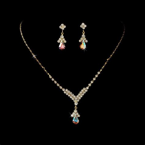 ab rhinestones with gold jewelry set for quinceanera mis