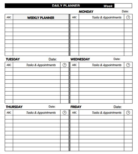 daily planner free template search results for free daily planner templates
