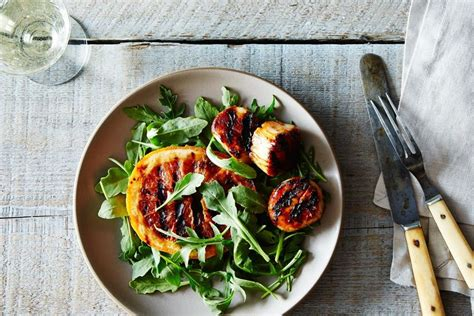 grilled scallops skewers with ruby red grapefruit and chile glaze recipe on food52