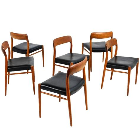 Moller Dining Chairs Set Of Six Modern Niels Moller Mod 75 Dining Chairs Teak And Leather At 1stdibs