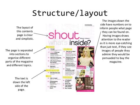 magazine layout structure generic conventions of magazine covers and contents pages