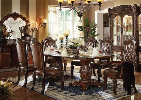 cherry dining room sets traditional dining room home von furniture vendome formal dining room set with glass