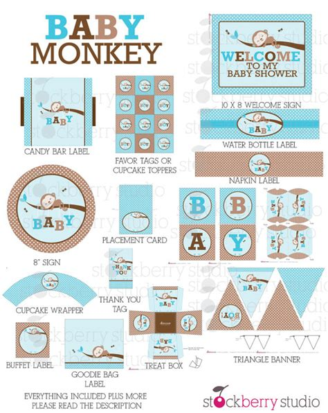 baby shower decorations printable items similar to boy monkey baby shower decorations