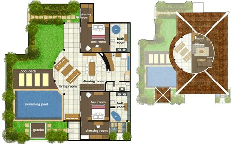 Traditional Floor Plans by Abadi Villas 2 Two Bedroom Villa